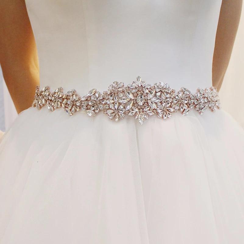 Bridal Handmade Ribbon Pearl Rhinestone Crystal Wedding Dress Belt Sash Gold