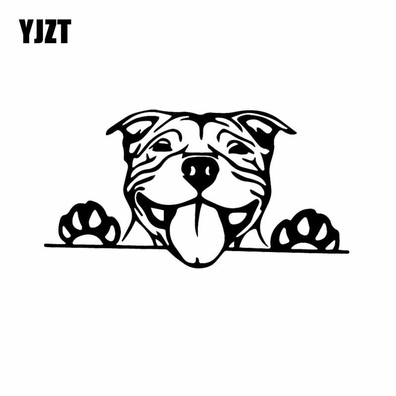 YJZT 15.7X8.2CM Funny Car Sticker Paws Up Pitbull Bully Dog Decal Vinyl Decor Black/Silver C24-1577