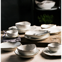 Irregular White Ceramic Plates And Dishes Household Rice Bowl Eco Friendly Salad Dessert Fruit Tableware Kitchen Accessories 1