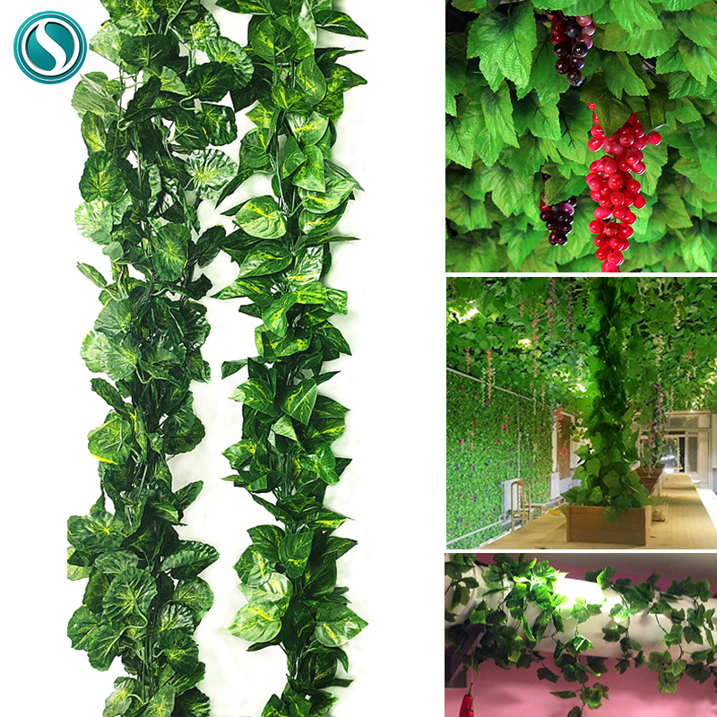 2.4M Silk Artificial Hanging Ivy Vivid Rattan Leaf Garland Plant Vine Leaves Home Wedding Bathroom Decoration Garden Party Decor