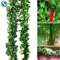 240 см зеленые шелковые искусственные свисающие гирлянда из листьев плюща растения виноградные листья 1 шт. ротанг домашнее украшение ванной комнаты сад вечерние Декор - фото