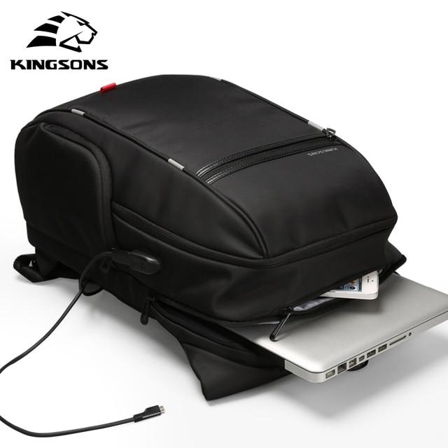 Kingsons KS3140 Men Women Laptop Backpack Business Leisure Travel School Bag Backpackwith USB Charge Multi function Waterproof