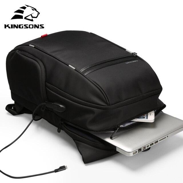 Kingsons KS3140 mężczyźni kobiety plecak na laptopa biznes wypoczynek plecak szkolny plecak z ładowaniem USB wielofunkcyjny wodoodporny