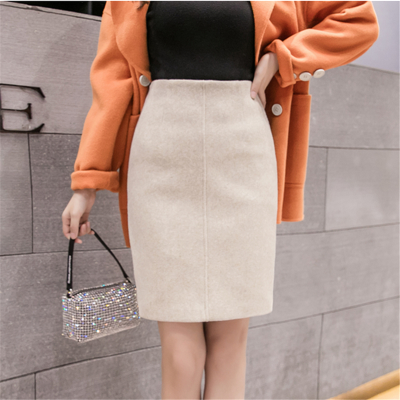 Neophil 2020 Summer Black Thick Woolen Mini Pencil Skirts Women Casual Slim High Waist Ladies Office Work Wear Wool Saias S9221