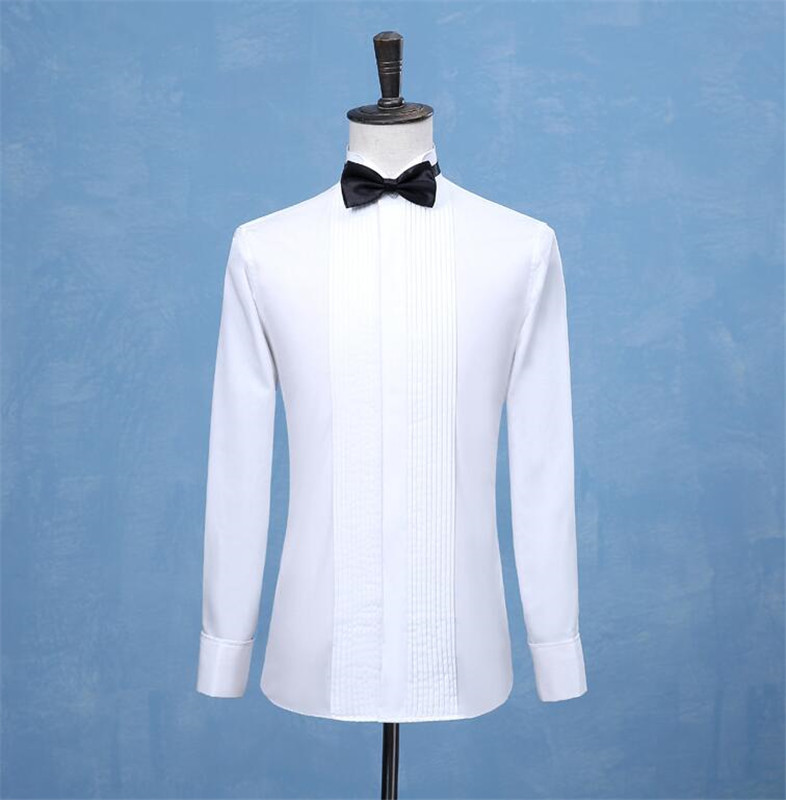 White Wedding Tuxedo Men Shirt French Cufflinks Long Sleeved Shirt Male Social Business Dress Work Men Business Shirts  Formal