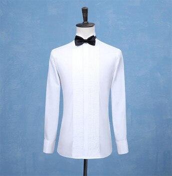 White Wedding Tuxedo Men Shirt French Cufflinks Long Sleeved Male Social Business Dress Work Shirts  Formal - discount item  20% OFF Shirts