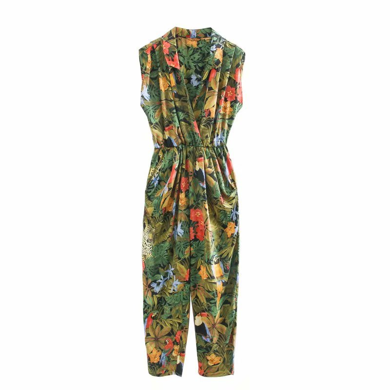 New 2020 Women Tropical Flower Leaves Print Siamese Rompers Ladies Sleevelss Jumpsuits Casual Elastic Waist Pocket Trousers