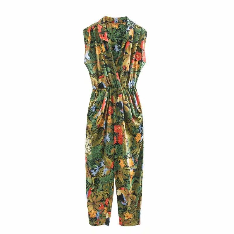 New 2020 Women Tropical Flower Leaves Print Siamese Rompers Ladies Sleevelss Jumpsuits Casual Elastic Waist Pocket Trousers