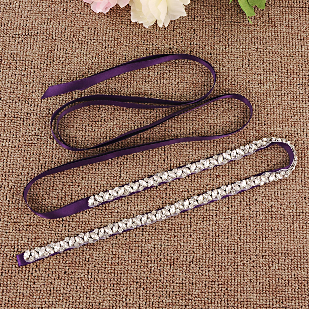 TRiXY S404 Stunning Rhinestones Belt Wedding Belt Silver Diamond Belt Crystal Bridal Belt for Wedding Gown Wedding Dress Sashes