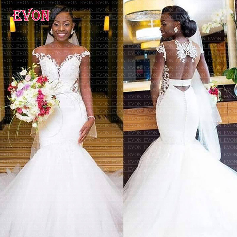 Sexy Off The Shoulder O Neck Lace Mermaid Wedding Dresses 2019 Cheap Vestido De Noiva Custom Made Open Back African Wedding Gowns
