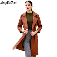 Women Long Trench Spring Autumn Sashes Slim Casual Clothing Brown Female Coat Outerwear Faux Leather