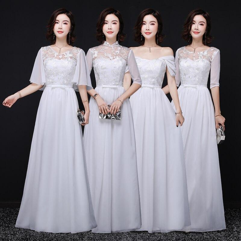 Elegant Chiffon Dress For Wedding Party Long Bridesmaid Dresses Junior Plus Size Simple Dress Sexy Prom Vestido De Festa Longo