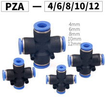 цена на Air Fitting 4-Way Cross Shaped Splitter Push in Pneumatic Tube Connector Quick Fittings PZA 4 6 8 10 12mm