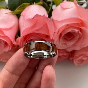 Image 4 - 8 Mm Koa Natuur Hout Inlay Tungsten Carbide Ring Voor Mannen Wedding Band Gepolijst Glanzend Comfort Fit