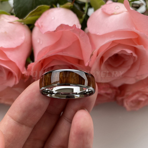 Image 4 - 8mm Koa Nature Wood Inlay Tungsten Carbide Ring for Men Wedding Band Polished Shiny Comfort Fit