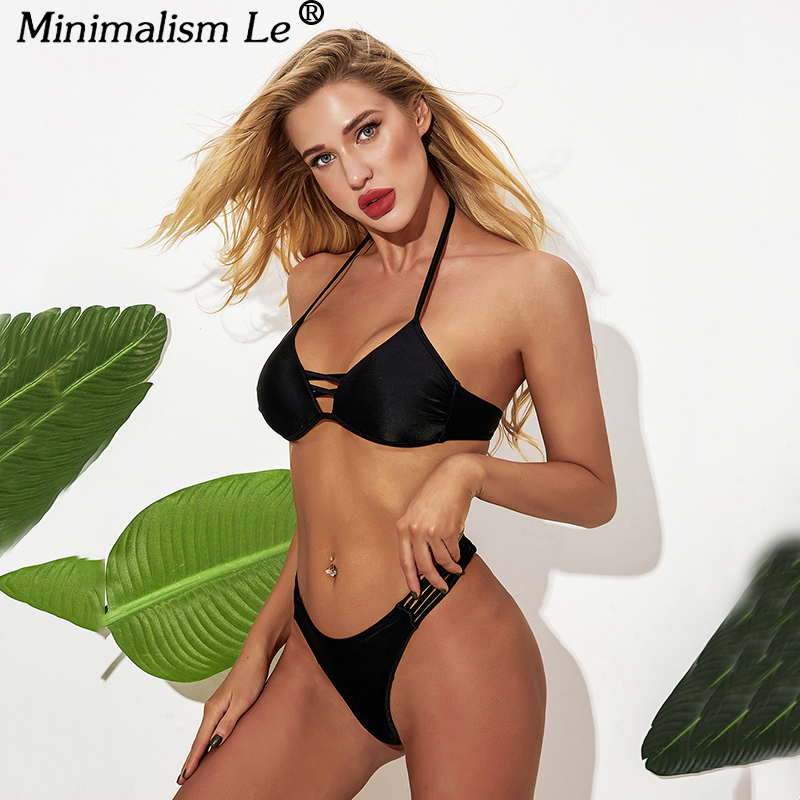 New Solid Bikini Set Sexy Halter Top Bikinis Low Waist Hollow Swimwear Women Bandage Bathing Suit High Cut Beachwear Biquini