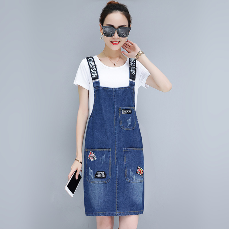 M-3XL Young Girl's Denim Strap Skirt Summer 2021 New Loose Jeans Camisole Skirt Women Cotton Overalls Skirts Female Plus Size