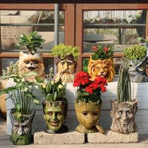 Image 4 - GLLead Groot Resin Flower Pot Cute Planter Action Figures Tree Man Creative Model Toy Pen Garden Flowerpot Home Decorate