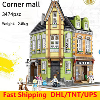Assemble City Street view building blocks mall restaurant tavern model legoedly bricks educational toys gifts for Children