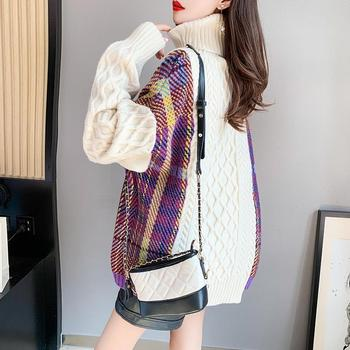 New style stitched twist sweater womens high neck very fairy loose lazy wind thickened autumn and winter