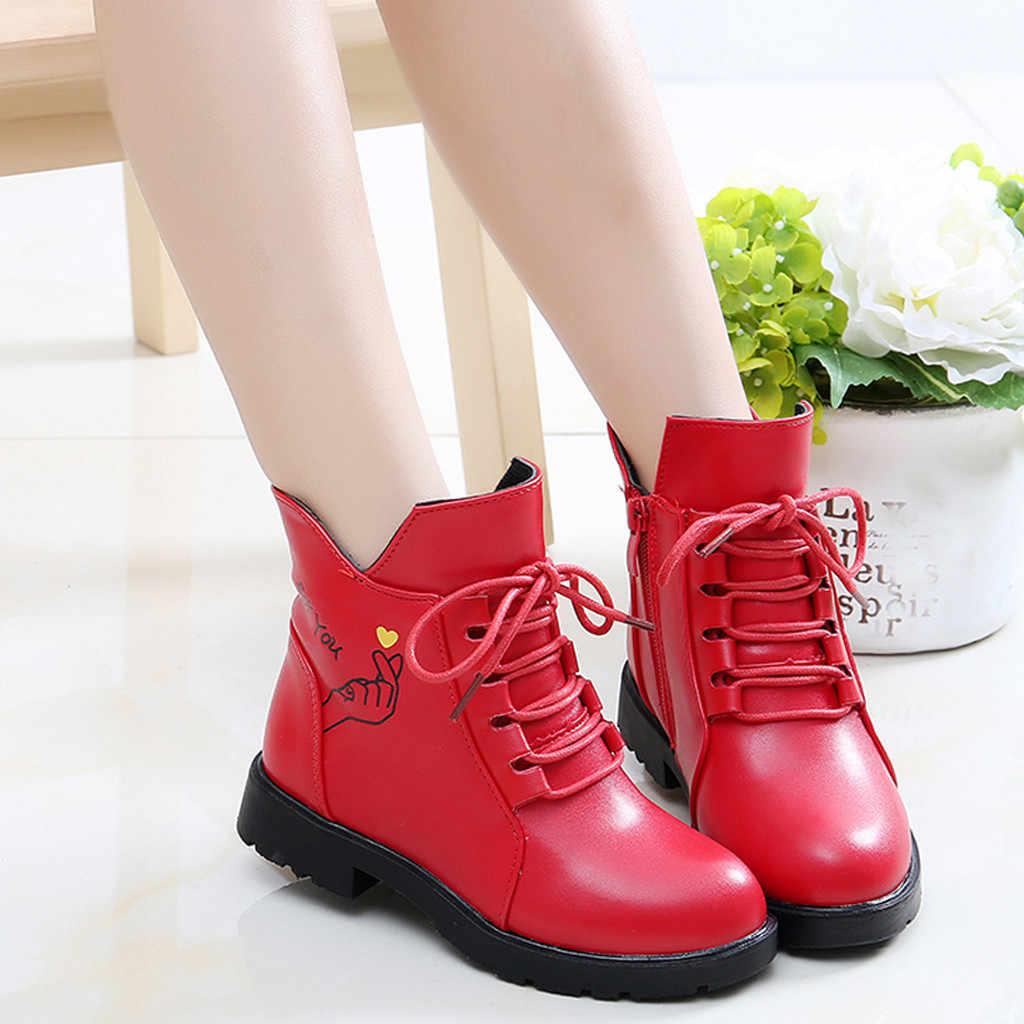 Детская одежда для маленьких девочек платье принцессы Повседневное тонкие туфли кожаные сапоги; зимние сапоги на мягкой подошве, без шнуровки, туфли в стиле «Принцесса» ботинки