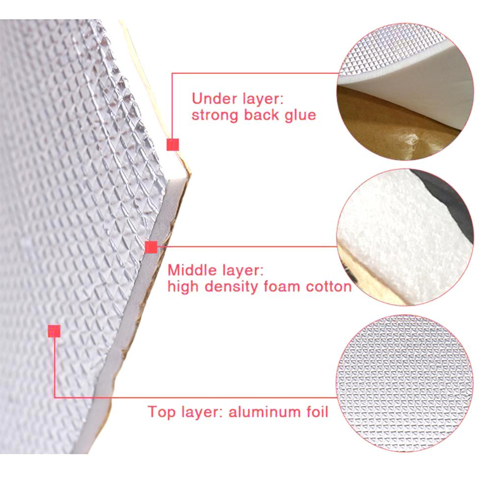 lowest price Discount  6mm 236mil Thick Aluminum foil   Muffler Cotton Car Indoor Heat Sound Deadening Insulation Soundproof Dampening Mat