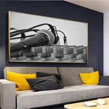 Black White Microphone Diamond Painting Modern Home Bar Decor large DIY 3D Diamond Embroidery Wall Picture for Living Room Decor(China)