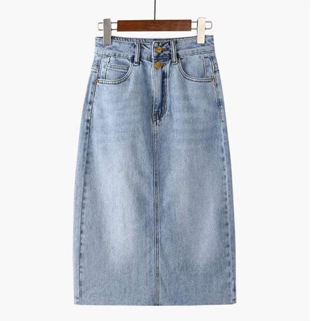 Женская джинсовая юбка с высокой талией 3