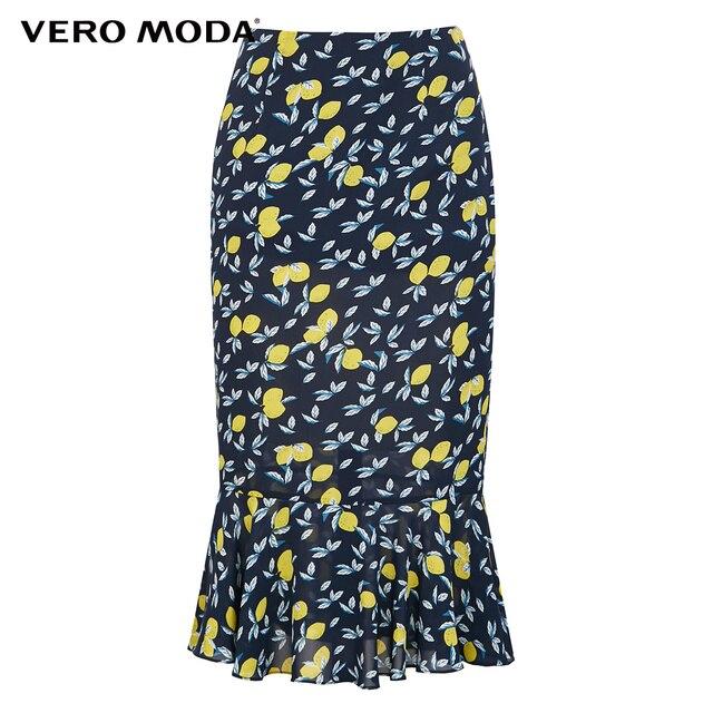 Vero Moda Women's Lemon Print Contrasting Trumpet Skirt | 319316540