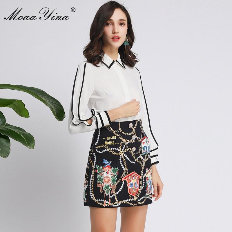 MoaaYina Fashion Designer Set Spring Autumn Women Long sleeve Shirt Tops+Stripe Print Short skirt Elegant Two-piece set