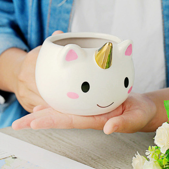 300ml Unicorn Mug Rainbow Horse Mugs Cup Cute 3D Ceramic Coffee Gold Stereo Cups - discount item  50% OFF Kitchen,Dining & Bar