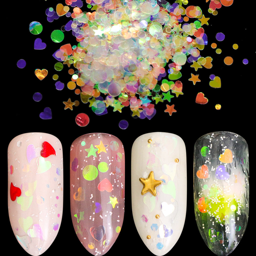 1 Bottle Chameleon AB Shiny Nail Art Glitter Sequins Heart Star Round Nail Bling Nail Flake 3D DIY Manicure Decor LA678-05-1