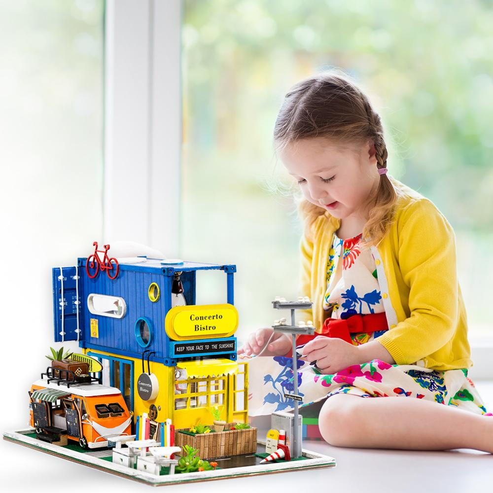 Doll House Furniture Diy Miniature Wooden Miniaturas Dollhouse Model Creative Doll House Toys for Children Birthday Gifts in Action Toy Figures from Toys Hobbies