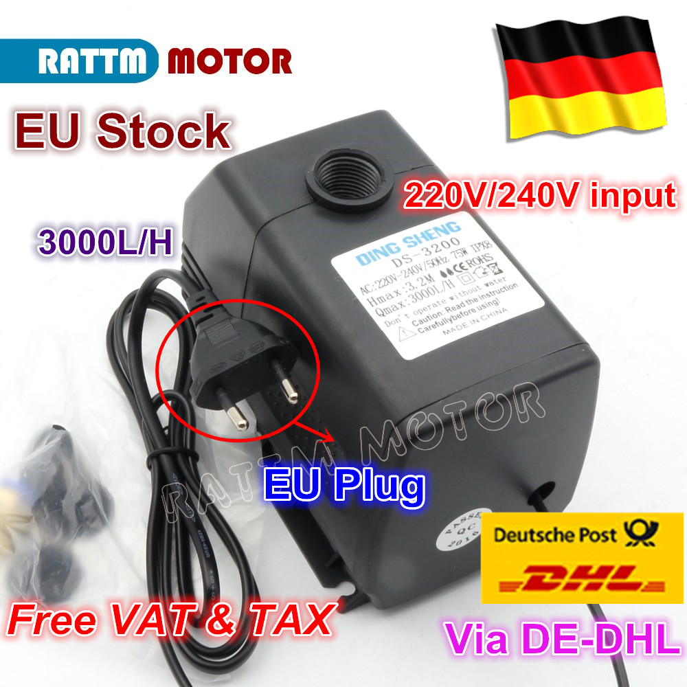EU 75W 3.2m <font><b>Water</b></font> <font><b>Pump</b></font> 220/<font><b>110V</b></font> Engraving Machine Tool Cooling for CNC Router 2.2kw Spindle Motor and 1.5kw 800W Spindle Motor image