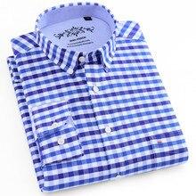 גברים של ארוך שרוול כחול אוקספורד שמלת חולצה עם שמאל חזה כיס כותנה זכר מזדמן מוצק כפתור למטה חולצות 5XL 6XL גדול גודל