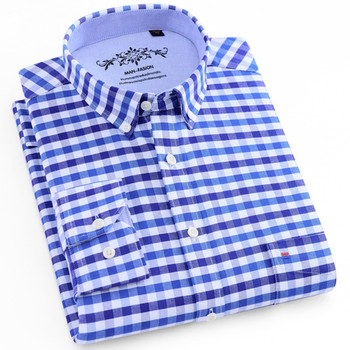 Men's Long Sleeve Blue Oxford Dress Shirt with Left Chest Pocket Cotton Male Casual Solid Button Down Shirts 5XL 6XL Big size button down long sleeve pocket shirt