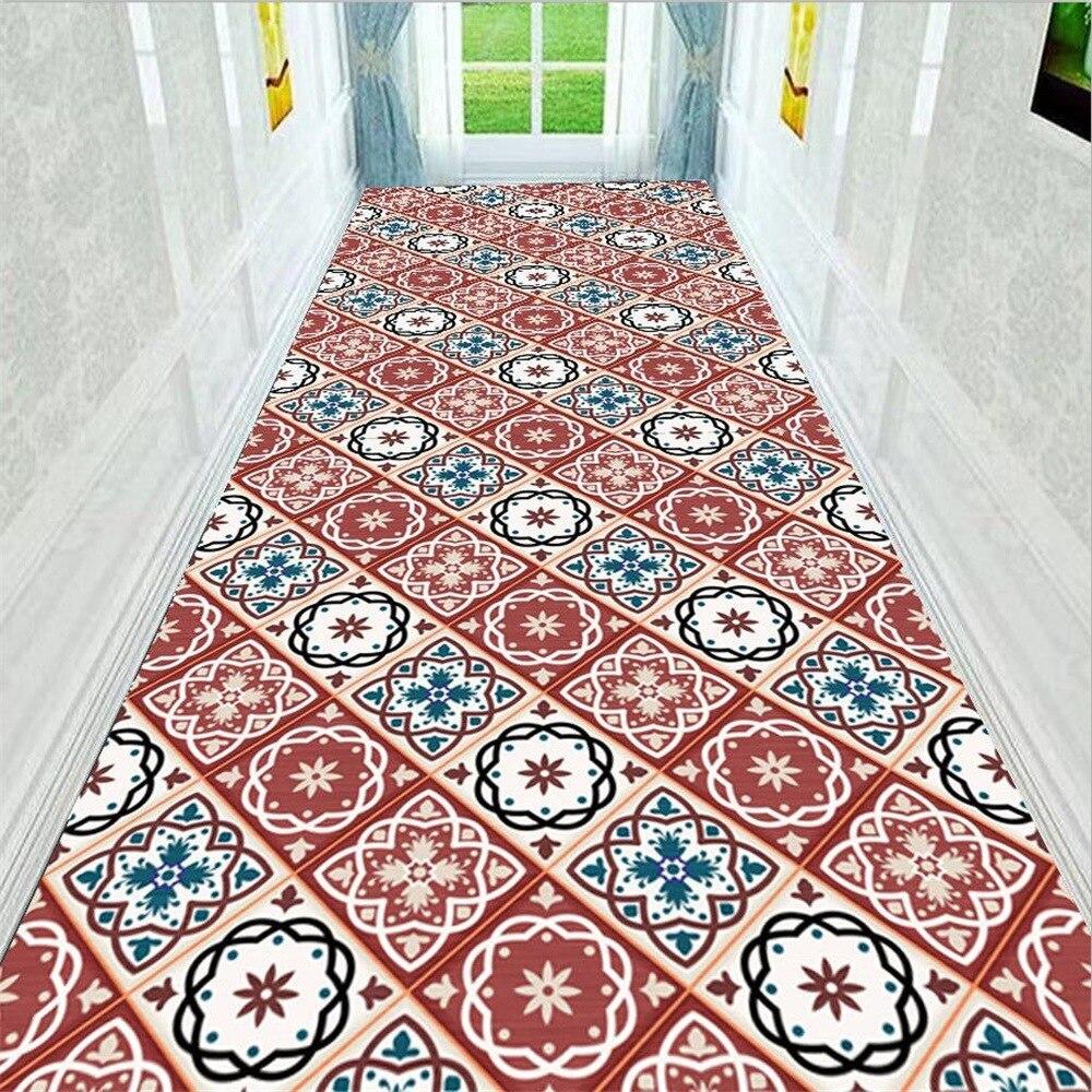 3D colorful Tile corridor Strip floor mat Bedroom living room kitchen carpet plush printed non slip rug custom made floor mat in Carpet from Home Garden