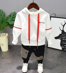 Image 1 - Kids Baby Boy Clothes Sets Casual Letter Printing Autumn Winter Outwear Sets Long Sleeves Tracksuit Top+Pant Outfits Hat Set