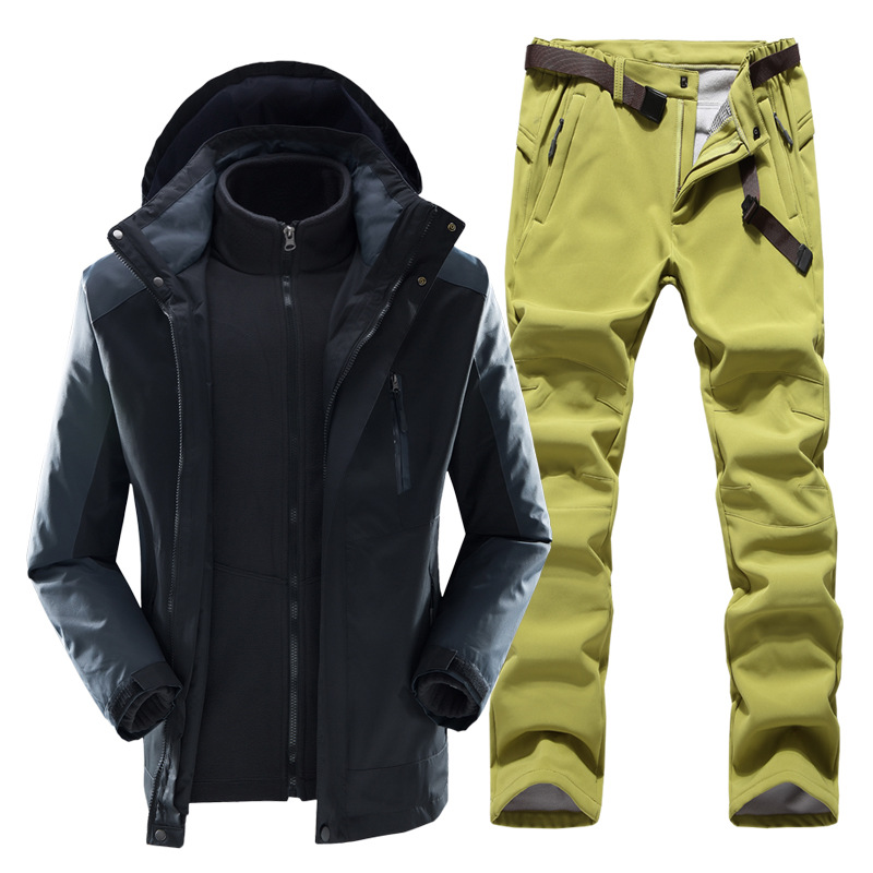 Уличный костюм три в одном теплый ветрозащитный водонепроницаемый весенний дорожный лыжный костюм комплект для сноуборда|Комплекты для сноубординга|   | АлиЭкспресс