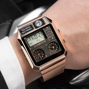 Image 3 - Boamigo marca superior de luxo relógios esportivos homem vestido digital led relógios quartzo à prova dwaterproof água relogio masculino