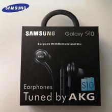 20 Pcs Samsung AKG หูฟัง EO IG955 3.5 มม.พร้อมไมโครโฟนสำหรับ Samsung Galaxy S10 S9 S8 S7 s6 S10 PLUS smartphone