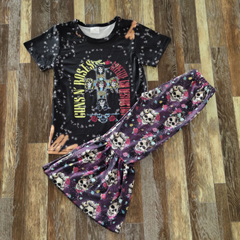 boutique outfits Halloween cross pattern skull print bell pants girl clothes set