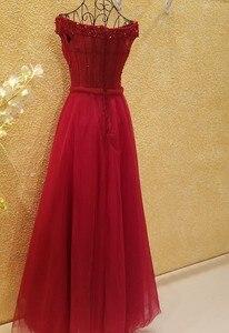 Image 2 - xl9542 vestido de festa red prom dress v neck off shoulder beaded long evening party dress for graduation vestido de festa longo