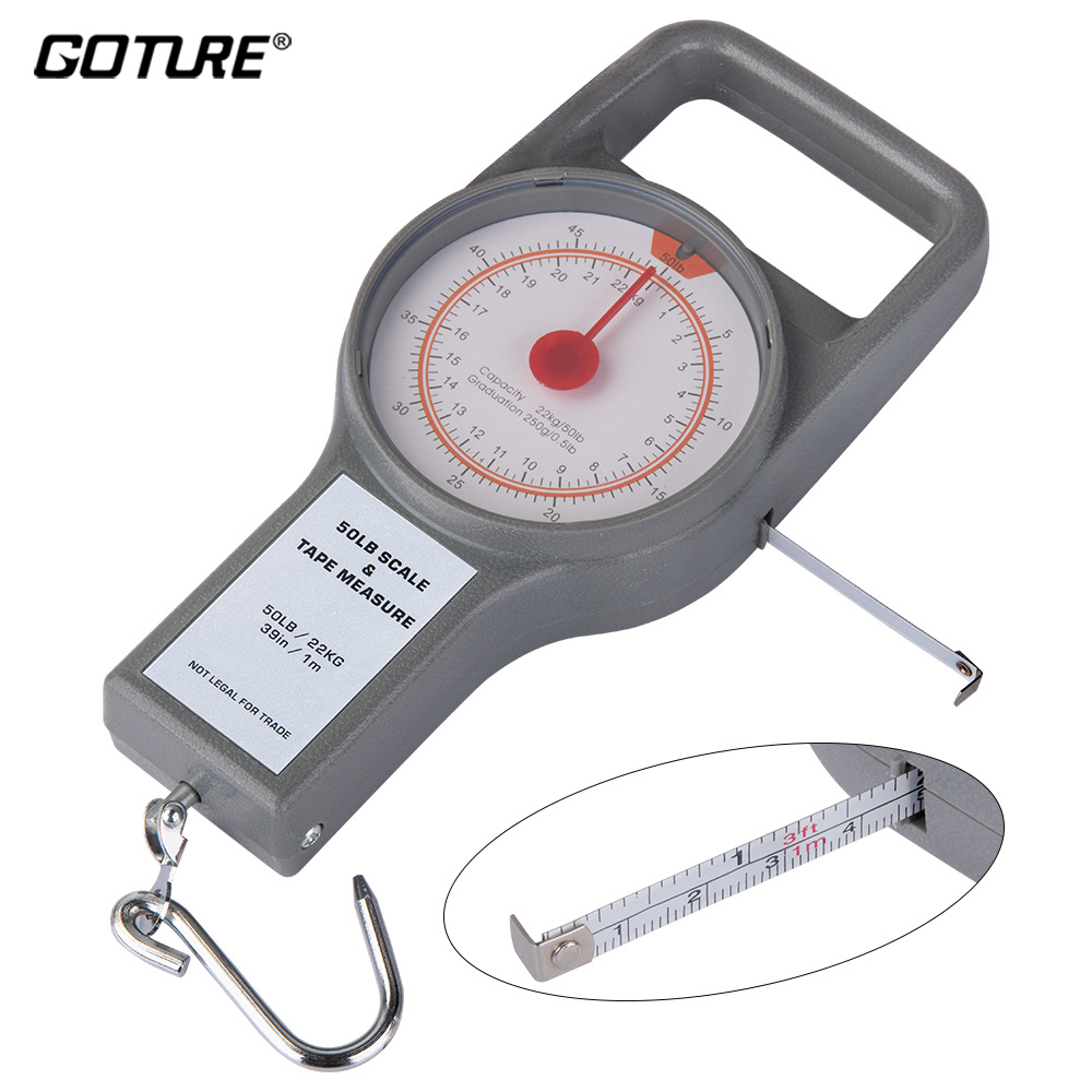 Goture Portable Fishing Scale 34kg//75lb Hanging Hook Scale with 1M Tape