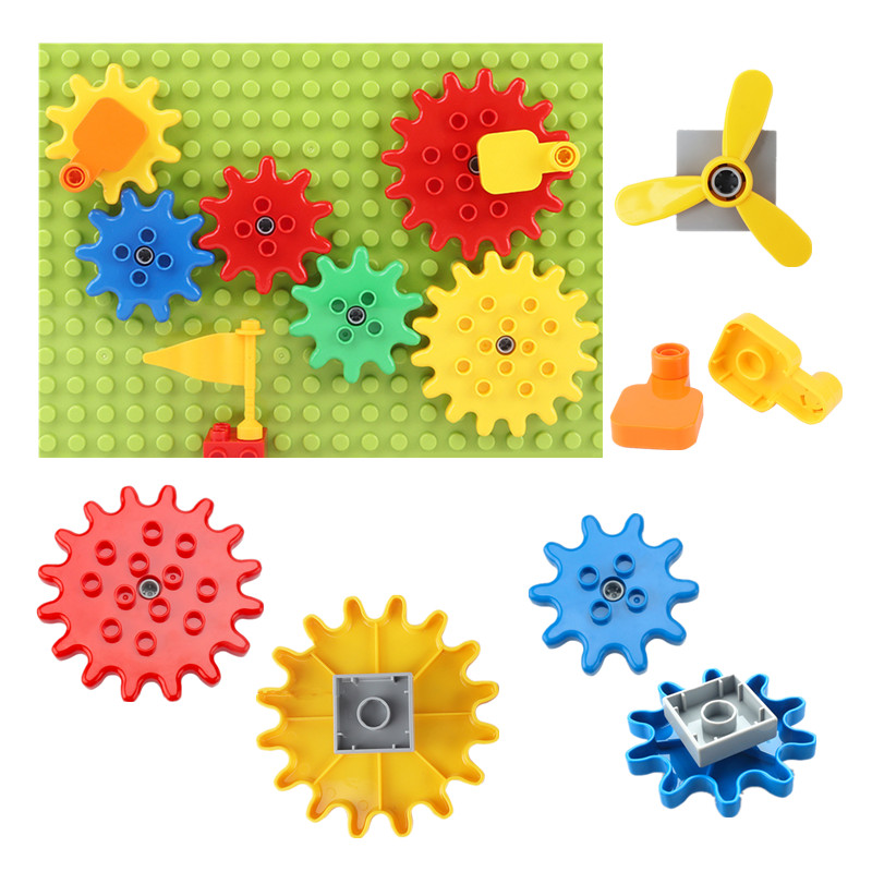 Rotating Gear System Large Building Blocks Parts Compatible With Duplo Funny Toys