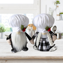 Plush-Doll for Home-Decor Table-Ornament Vintage Gnomes Chef Cooking Kitchen Lovely 40--2pc
