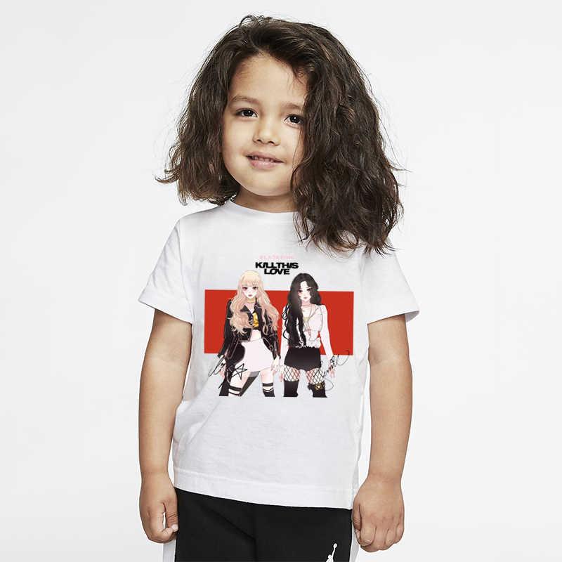 Meninas coreanas t camisas blackpink modal branco camiseta verão casual manga curta criança menina t topos crianças meninos tshirt traje