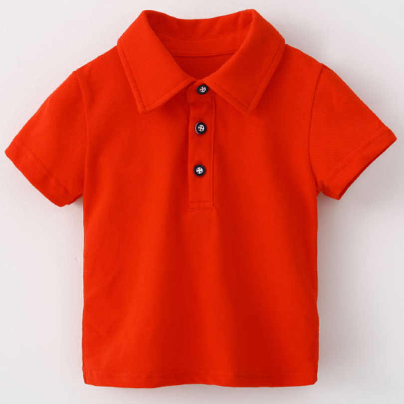 6 Color Summer Children Baby Polo Shirts Short Sleeve School Big Boys Girls Cotton Lapel Button Tops Casual Solid Color Vestidos