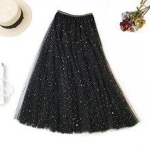 купить 3 Layers Pleated Tutu Skirt New Arrival Sequined Mesh Elegant Skirt Women Elastic High Waist A Line Skirt Long Falda Larga онлайн