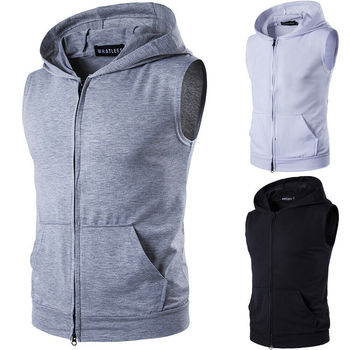 Mens Slim Fit Sleeveless Shirts Hooded Zipper Plain Color Muscle Tops Hoodie Casual Basic Vests Thin Jacket